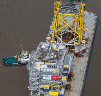 Sail out of the offshore HV substation and jacket for the Burbo Bank Extension offshore wind farm