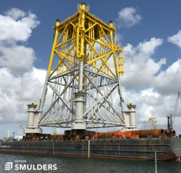 Load-out of jacket for the Merkur Offshore Wind Farm
